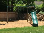 Swing set in back yard