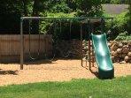 Swing set in back yard