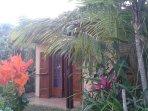 Chambre entourée d'un jardin luxuriant ayant vue sur la mer.