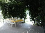 Patio can easily accommodate table for 6 (and many more)