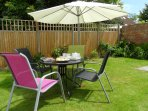 Secure garden with patio furniture etc