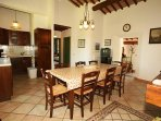 kitchen with table up to 12 persons
