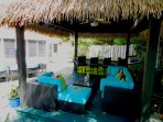 Cabana lounge offers shaded area from the island sun