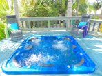 Plenty of decking and Jacuzzi tub. Can be used hot or cool.