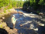 Salmon fishing at the entrance to Point Leamingtons Mill River. Also, a favorite swimming spot.