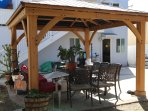 Garden Gazebo with BBQ, met and fish Smocker, Arowhead Water Cooler and patio Heater