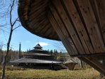 Hike through lovely woods to a coastal yurt compound in nearby Machiasport.