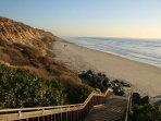 Walk down stairs to the beach