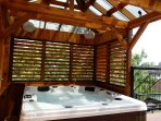 SpaJacuzzi on the 3rd floor view Castel Viger with shutter that opens and sound system