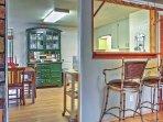 Breakfast bar and full kitchen