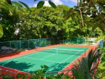 tennis court across the street