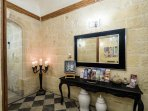 The elegant hallway. Where you will find a family crest dating back to 1875