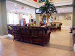 Front desk and sitting area in the clubhouse