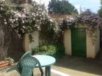 Cottage patio, private afternoon suntrap