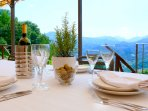 Outdoor dining immersed in the Tuscan countryside