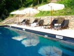 Ample loungers for poolside relaxation