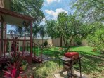 Private backyard is large and inviting