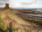 On The Coastal Path Seafield Tower. Built in the 16th century from local red sandstone.