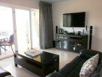 Living area with HDTV flatscreen.
