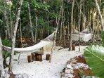 BBQ area with hammocks