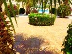 Wonderful well cared for  Mediterranean garden areas.