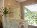 Suite Papaya Shower overlooking the pool