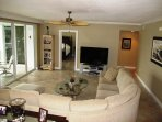 Large comfortable living room.  Total condo space is over 2200 square feet.