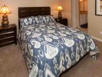 Carpeted master bedroom with queen bed
