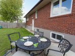 Private backyard patio with BBQ