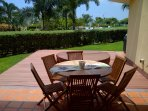 Spacious outdoor terrace with 6 person patio table, hot tub and BBQ