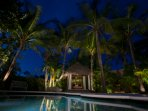 Tropical delights at night with ambient lighting.