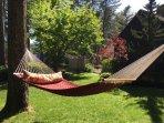 Two hammocks in backyard plus lots of space for Croquet, badminton, etc.