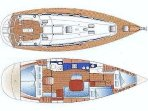 Bavarie 44 layout - 4 double cabins, 2 heads and large saloon & galley