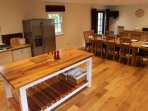 The kitchen has underfloor heating and all the equipment you will need to cater for a large group holiday