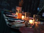 A.L.E. Dinner setting in the woods of the Grand Canyon