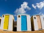 Victorian beach huts on Ventnor beach
