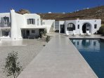 The Villa is 250 square meters, it  has 5 bedrooms and it can accomodate 10 to 12 people.