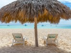 Private beach, lounger and parasol
