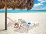 Los Corales Private beach with personal loungers and parasol
