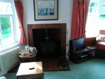 Wood burner in sitting room