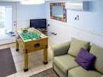 Lower level Den with Foosball and a Full size sleeper sofa