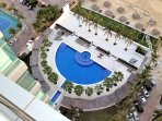 Overhead view of pool area.