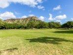 Large grassy Kapiolani Park right across the street. Walk to world famous Diamond Head crater!