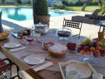 Breakfast is served using local Provencal products.