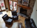 Living Room - Wood Fireplace, Leather Furniture, Queen Sofa Bed, Endless Mountain Views