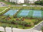 Tennis courts, basketball court and children's playground!
