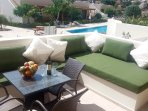 Private balcony with sunbathing area and hottub