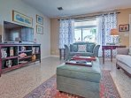 Unwind in the inviting living room and watch your favorite satellite cable show on the flat screen TV