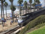 Trains to both Los Angeles and San Diego stop right at pier