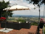 Enjoy the Stunning Views of The Tuscan Countryside from the terrace with seating  & dining for 14